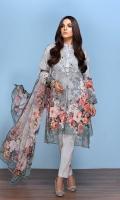 -Digital Printed Super Fine Lawn Shirt: 3Mtr  -Digital Printed Crinkle Chiffon Dupatta: 2.5 Mtr  -Dyed Cambric Trouser: 2.5 Mtr