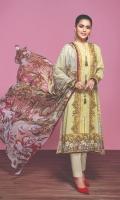 -Digital Printed Super Fine Lawn Shirt: 3 Mtr  -Digital Printed Crinkle Chiffon Dupatta: 2.5 Mtr  -Dyed Cambric Trouser: 2.5 Mtr