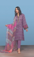 -Printed Super Fine Lawn Shirt: 3.5 Mtr  -Digital Printed Crinkle Chiffon Dupatta: 2.5 Mtr  -Dyed Cambric Trouser: 2.5 Mtr