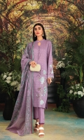 - Silver Printed Super Fine Lawn Shirt: 3.5 Mtr  - Silver Printed voil Dupatta: 2.5 Mtr  -Dyed Cambric Trouser: 2.5 Mtr  - Embroidered Front+ Sleeves