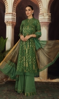 - Gold Printed Super Fine Lawn Shirt: 3.5 Mtr  -Digital Printed Banarsi Slub Dupatta: 2.5 Mtr  -Dyed Cambric Trouser: 2.5 Mtr