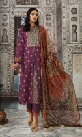 -Printed Super Fine Lawn Shirt: 3.5 Mtr  -Digital Printed Banarsi Slub Dupatta: 2.5 Mtr  -Dyed Cambric Trouser: 2.5 Mtr