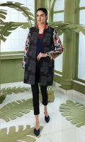 Printed Stitched Khaddar Jacket With Mask - 1PC