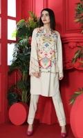 Digital Printed Stitched Cotton Karandi Shirt With Mask -1PC