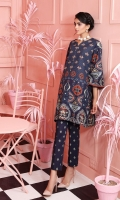 Printed Stitched Khaddar Shirt & Trouser With Mask- 2PC