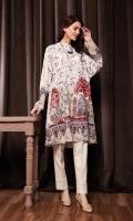 Digital Printed Stitched Cotton Karandi Shirt With Mask - 1PC