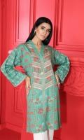 Digital Printed Stitched Cotton Karandi Shirt With Mask- 1PC