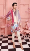 Digital Printed Embroidered Stitched Khaddar Shirt With Mask - 1PC