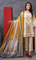 Embroidered Stitched Super Fine Lawn Shirt & Silk Dupatta With Mask - 2PC