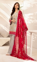 -Gold Printed modal Shirt: 3.5Mtr  -Gold Printed Voil Dupatta: 2.5  -Dyed Cambric Trouser: 2.5