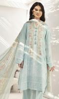 - Digital Printed Modal Shirt: 3.5 Mtr  -Silver Printed Voil Dupatta: 2.5 Mtr            -Dyed Cambric Trouser: 2.5 Mtr