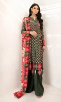 - Gold Printed Modal Shirt: 3.5 Mtr  -Gold Printed Voil Dupatta: 2.5 Mtr             -Dyed Cambric Trouser: 2.5 Mtr