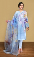 -Digital Printed Super Fine Lawn Shirt: 3 Mtr  -Digital Printed Organza Dupatta: 2.5 Mtr  -Dyed Cambric Trouser: 2.5 Mtr  -Embroidered Border (Patch)