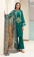 -Dyed Super Fine Lawn Shirt: 3.5Mtr  -Digital printed Fine Slub Net Dupatta: 2.5Mtr  -Dyed Cambric Trouser: 2.5Mtr  -Embroidered Front + Border (Patch)