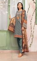 -Digital printed Super Fine Lawn: 3Mtr  -Digital printed Fine Slub Net Dupatta: 2.5Mtr  -Dyed Cambric trouser 2.5  Embroidered Neckline (Patch) + Border (Patch)
