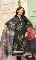 -Digital Printed Super Fine Lawn Shirt: 3 Mtr  -Digital Printed Fine Slub Net Dupatta: 2.5 Mtr  -Dyed Cambric Trouser: 2.5 Mtr  -Embroidered Front