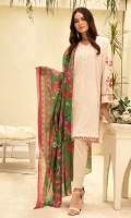 - Dyed Super Fine Lawn Shirt: 3.5 Mtr  -Digital Printed Rib Voil Dupatta: 2.5 Mtr   -Dyed Cambric Trouser: 2.5 Mtr  -Embroidered Front +Sleeves +Border (Patch)