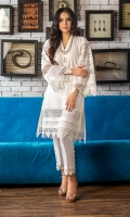From our limited edition Eid wear- an easy breezy two piece outfit featuring a chikan kameez with smartly detailed bell sleeves and delicate buttons, paired with raw silk pants with pearl buttons on the side.