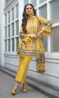 A cheery yellow printed number with dainty lace detailing on its shirt and pants, plus a pretty printed silk dupatta for the finishing touch