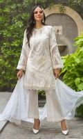 A classic white-on-white number with a smart embroidered neckline design and embroidered sleeves paired with a sleek chiffon dupatta and bordered raw silk pants