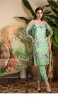 03 pcs unstitched digital printed & embroidered Karandi, embroidered trouser, digital printed Bamber Chiffon dupatta