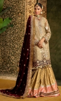 Front:Embroidered Pure Organza Front Panel Embroidered Pure Organza Side Panel(2) Back : Embroidered Pure Organza Sleeves: Dyed Pure Organza Pants: Dyed Jamawar Gharara Dupatta: Embroidered Velvet Shawl Embroideries: 1)Front Ghera border on Velvet 2)Back Ghera Border on Velvet 3)Sleeve Border on Velvet 4)Neckline on Velvet 5)Sleeve Patches (2) 6)Pallu Border for shawl