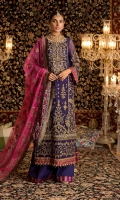 Front:Embroidered Pure Chiffon Front Panel Embroidered Pure Chiffon Side Panel(2) Back : Embroidered Pure Chiffon Sleeves: Embroidered Pure Chiffon Pants: Dyed Raw Silk Dupatta: Embroidered Net Embroideries:1)Ghera border on Pure Chiffon 2)Sleeve Border on Pure Chiffon 3)Handmade SheeshaNeckline 4)Sleeve Patches (2) 5)Handmade Sheesha Border for ghera 6)Silk Border for Ghera & Sleeves