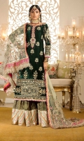 Front:Embroidered Velvet Back : Dyed Velvet Sleeves: Embroidered Velvet Pants: Dyed Jamawar Gharara Dupatta: Embroidered Net Embroideries:1)Ghera border on Velvet 2)Sleeve Border on Velvet 3)Neckline 4)Sleeve Patches (2) 5)Silk Border for Dupatta