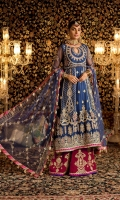 Front: Dyed Embroidered Net Yoke Dyed Embroidered Center Panel Dyed Embroidered Side Panel (3) Dyed Embroidered Side Panel (2) Back : Dyed Embroidered Net Sleeves: Dyed Embroidered Net Pants: Dyed Raw Silk Dupatta: Dyed Embroidered Net Embroideries: 1)Ghera border for front 2)Border of Pants 3)Sleeve Patches (2)