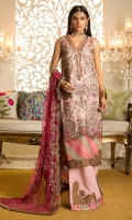 Front:Embroidered Massori Back : Embroidered Massori Sleeves: Embroidered Massori Panels:Dyed Massori Pants: Dyed Raw Silk Dupatta: Dyed Embroidered Net Embroideries: 1)Ghera border for front 2)Neck Patti 3)Sleeve Borders (2)
