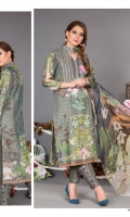 Digital Printed Premium Karandi With Embroidered Fronts, Crinkle Chiffon Dupatta & Tissue silk Patches for trousers & shirts