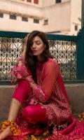Zarri Net Front Embroidered Shirt Front & Back Embroidered border Embroidered Sleeve border Trouser Patch Raw Silk Trouser & Zarri Dupatta.