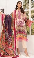Front: 1.25 Meter Printed with Embroidery Back: 1.25 Meter Print Dupatta: 2.5 Meter Modal Printed Sleeves: 0.5 Meter Print Trousers: 2.5 Meter Plain