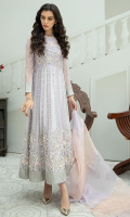 4 Piece Ready-To-Wear Fully Embroidered & Heavily Hand-Embellished Chiffon Frock With Organza 2 Tone Dupatta Decorated With Details & Scalloping. Paired With Rawsilk Cigarette Pants