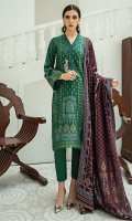 3 piece Ready-To-Wear Viscose Jacquard fabric shirt with handwork embellishment with mirror work on the neckline Paired with viscose trouser & jacquard dupatta