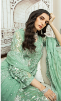 4 Piece Ready-To-Wear Fully Embroidered Chiffon Shirt With Heavily Hand-Embellished Work Paired With Embroidered Dupatta & Rawsilk Flaired Pants
