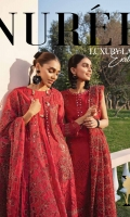 Embroidered Schiffli Lawn Front Embroidered Front Left & Right Motif Embroidered Border Patch & Embroidered Sleeves Patch Embroidered Lawn Sleeves Border Schiffli Lace Embroidered Laser Chiffon Dupatta Dyed Cotton Trouser Embroidered Trouser Patch