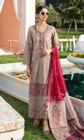 Embroidered Schiffli Lawn Front Embroidered Schiffli Sleeves Embroidered Neckline Motif Embroidered Front Patch Back & Sleeves Plain Lawn Embroidered Chiffon Dupatta Embroidered Organza Dupatta Border 1 Embroidered Organza Dupatta Border 2 Embroidered Organza Dupatta Border 3 Dyed Cotton Trouser