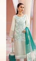 Embroidered Lawn Front Embroidered Lawn Sleeves Back Plain Lawn Embroidered Front Border Embroidered Sleeves Patti Front & Back Schiffli Lace Embroidered Chiffon Dupatta Embroidered Organza Dupatta L + R Panel Embroidered Organza Dupatta Large Patti Embroidered Organza Dupatta Small Patti Dyed Cotton Trouser