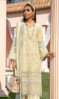 Embroidered Schiffli Lawn Front Embroidered Front Border Back & Sleeves Lawn Embroidered Lawn Sleeves Patti Organza Sleeves Patch Chiffon Dupatta Foiled Organza Dupatta Border Dyed Cotton Trouser Embroidered Trouser Patch