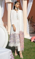 Embroidered Schiffli Lawn Front Embroidered Front Border Back & Sleeves Plain Lawn Embroidered Lawn Border Front & Back Organza Dupatta Embroidered Organza Border Dyed Cotton Trouser 3D Flowers