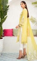 Embroidered sequence front lawn 1 meter Embroidered sequence organza front 1pcs Front embroidered daman patti 0.75 meter Embroidered organza sleeves patti 0.75 meter Sleeves motif 2pcs Lawn back & sleeves 2 meter Plain organza 0.5 meter Embroidered chiffon dupatta 2.50 meter Cotton trouser 2.50 meter