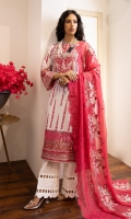 Embroidered digital Printed Lawn Shirt Embroidered organza dupatta Dyed Cotton Trouser