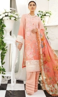 Embroidered Swiss Lawn Front Digital Printed Swiss Lawn Back Dyed Cotton Trouser Printed Bamber Chiffon Dupatta