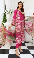 Hand Work Embellished & Embroidered Swiss Lawn Front Digital Printed Swiss Lawn Back Dyed Cotton Trouser Printed Bamber Chiffon Dupatta