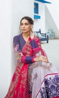 Embroidered Karandi Lawn Printed Shirt Embroidered Bamber Chiffon Dupatta Dyed Cotton Trouser