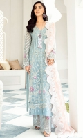 Embroidered Chiffon Front With Hand-Embellishment Embroidered Chiffon Front Neckline With Hand-Embellishment Embroidered Chiffon Front Patti With Hand-Embellishment Embroidered  Chiffon Front Border Patti With Hand-Embellishment Embroidered Chiffon Sleeves Embroidered Chiffon Sleeve Patti With Hand-Embellishment Embroidered Chiffon Sleeve Motifs With Hand-Embellishment Organza Jacquard Dupatta With Hand-Embellishment Embroidered Chiffon Back Organza Border Dyed Inner Shirt Lining Trouser Raw Silk Embroidered Motif For Trouser 4 Piece Suit