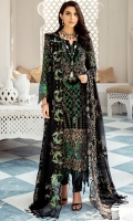 Embroidered Chiffon Front With Hand-Embellishment Embroidered Tissue Border With Hand-Embellishment Embroidered Chiffon Back Embroidered Back Tissue Border Embroidered Chiffon Sleeves Embroidered Tissue Border For Sleeves Embroidered Chiffon Dupatta Dyed Inner Shirt Lining Trouser Raw Silk 4 Piece Suit
