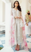 Embroidered Chiffon Front With Hand-Embellishment Embroidered Chiffon Back With Hand-Embellishment Embroidered Chiffon Sleeves Embroidered Chiffon Sleeves Motif With Hand-Embellishment Printed Organza Dupatta With Embroidery Dyed Inner Shirt Lining Trouser Raw Silk 4 Piece Suit