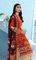 Digital Printed Lawn Shirt Front Border Schiffli Lace Digital Printed Lawn Dupatta With Schiffli Lace Dyed Cotton Trouser